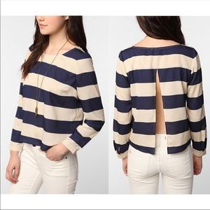 Urban Outfitters navy striped lightweight back top